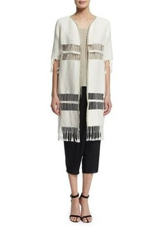 Elie Tahari Rowena Fringe-Striped Long Coat