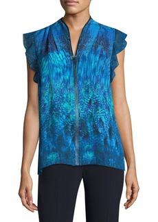Elie Tahari Ruffle-Sleeve Silk Blouse