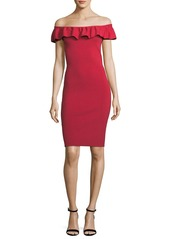Elie Tahari Ruthie Ruffle Off-the-Shoulder Dress