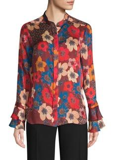 Elie Tahari Safiya Floral Silk Blouse