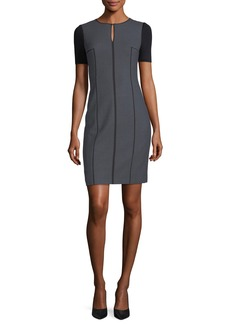 Elie Tahari Salandra Short-Sleeve Piped Sheath Dress