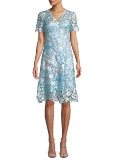 Elie Tahari Samira Floral-Appliqué Shift Dress