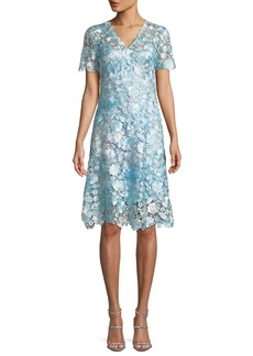 Elie Tahari Samira Floral-Appliqué Shift Dress