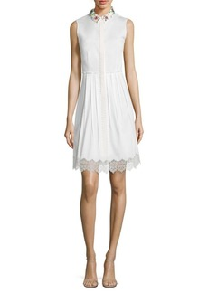 Elie Tahari Samiyah Embellished Collar Poplin Dress