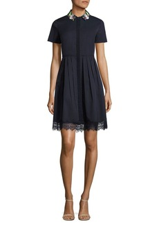 Elie Tahari Samiyah Embellished Pleated Shirtdress