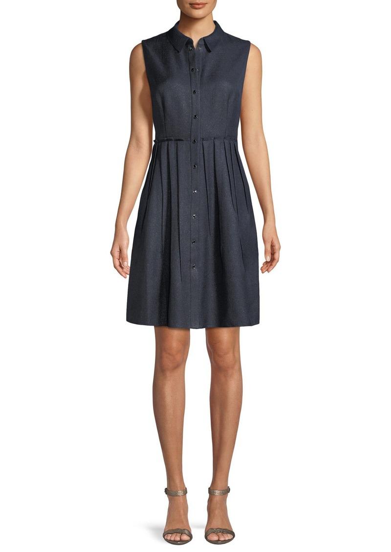 Elie Tahari Samiyah Sleeveless Button-Front Dress