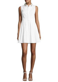 Elie Tahari Samiyah Sleeveless Pleated Dress w/ Embellished Collar