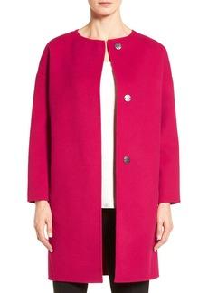 Elie Tahari 'Sammy' Collarless Wool Blend Coat