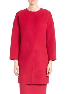 Elie Tahari Sammy Wool-Blend Collarless Coat