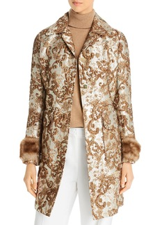 Elie Tahari Sampson Metallic Jacquard Coat