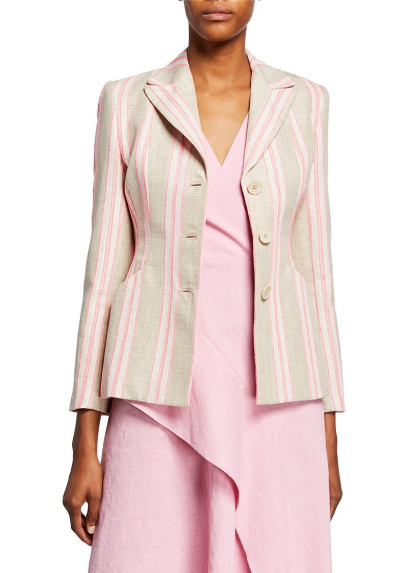 Elie Tahari Sasha Striped Jacket with Embroidery