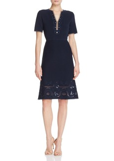 Elie Tahari Scout Embroidered Sweater Dress