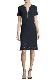 Elie Tahari Scout Short-Sleeve Cashmere Sweater Dress