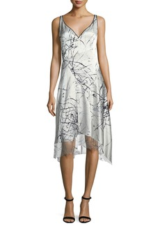 Elie Tahari Seldana Silk V-Neck Dress