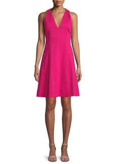 Selene V-Neck Linen-Blend Dress