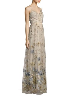 Elie Tahari Selma Metallic Embroidered Gown