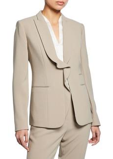 Elie Tahari Serena Ruffle Front Crepe Jacket
