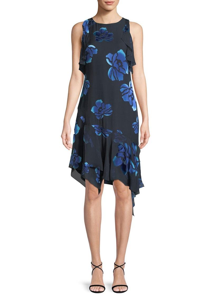 Elie Tahari Serenity Floral-Burnout Ruffled Dress