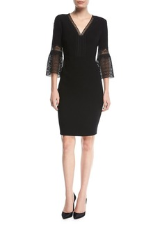 Elie Tahari Shaheena 3/4-Sleeve Lace-Trim Dress