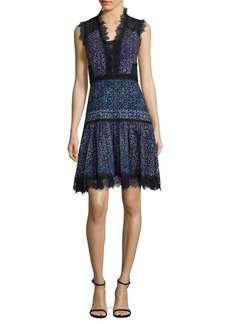 Elie Tahari Shanna Floral-Print Cotton Eyelet Dress