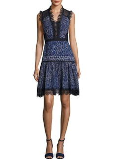 Elie Tahari Shanna Sleeveless Lace-Trim Floral Dress