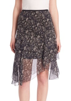 Elie Tahari Sharon Floral Chiffon Skirt