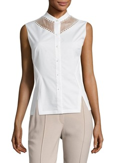 Elie Tahari Sheer-Paneled Sleeveless Blouse