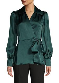 Elie Tahari Shey Silk Wrap Tie Blouse