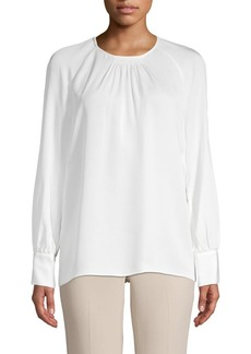 Elie Tahari Shirred Long-Sleeve Silk Blouse