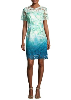 Elie Tahari Short-Sleeve Lace-Trim Ombre Organdy Dress