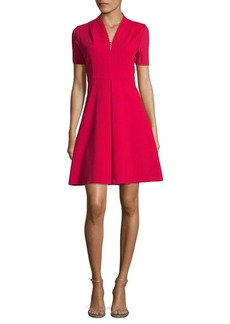 Elie Tahari Short Sleeved Flared Dress