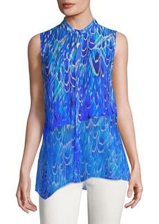 Elie Tahari Shreeva Tiered Asymmetrical Silk Blouse