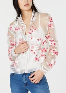 Elie Tahari Silk Floral-Applique Sheer Bomber Jacket