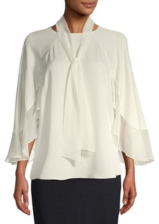 Elie Tahari Silk Tie-Neck Cape Blouse