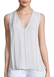 Elie Tahari Silvie Beaded Silk Blouse