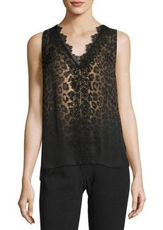 Elie Tahari Silvie Sleeveless Lace-Trimmed Leopard-Print Silk Blouse