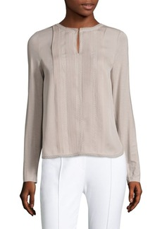 Elie Tahari Sima Pleated Silk-Front Blouse