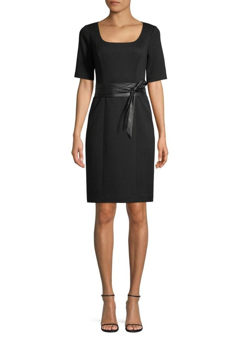 Elie Tahari Sina Belted Short-Sleeve Dress