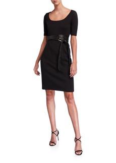 Elie Tahari Siona Scoop-Neck Short-Sleeve Dress with Sash Belt