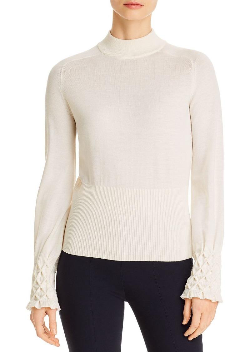 Elie Tahari Skylar Honeycomb-Cuff Sweater