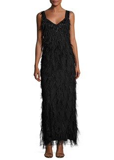 Elie Tahari Sleeveless Beaded Feather Column Gown
