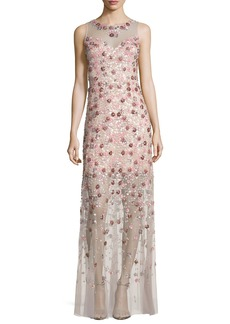 Elie Tahari Sleeveless Embellished Floral Georgette Column Gown