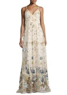 Elie Tahari Sleeveless Metallic Floral Tulle Gown