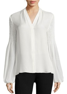 Elie Tahari Smocked Georgette Silk Blouse