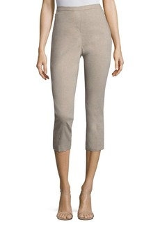 Solid Cotton-Blend Cropped Pants