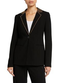 Elie Tahari Stella One-Button Stud-Trim Jacket