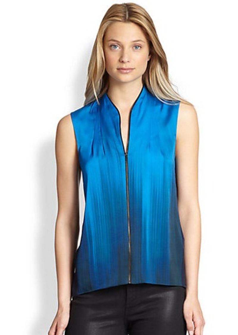 Elie Tahari Stretch Silk Zip-Front  Blouse
