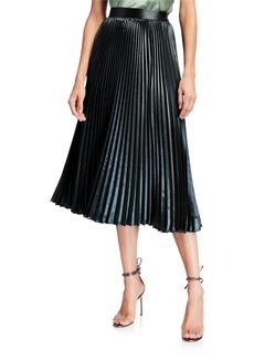Elie Tahari Sue Pleated A-Line Midi Skirt