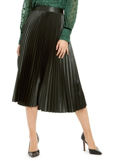 Elie Tahari Sue Pleated Satin Midi Skirt