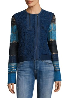 Elie Tahari Suri Colorblock Lace Bomber Jacket